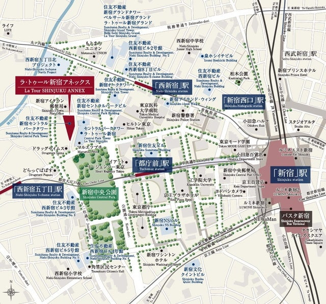 ラ・トゥール新宿アネックスのシャトルバスの路線図
